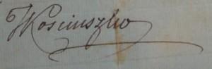 Podpis Tadeusza Kościuszki