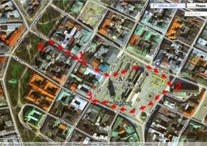 Przybliżona trasa studenckiego marszu. Opracowanie własne autora / Źródło mapy: zumi.plPrzybliżona trasa studenckiego marszu. Opracowanie własne autora / Źródło mapy: zumi.pl
