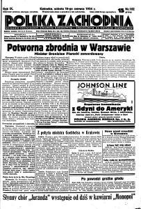 """Pierwsza strona gazety """"Polska Zachodnia"""" z 16 czerwca 1934 r., informująca o zabójstwie"""