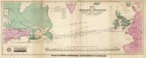 Mapa z 1858 z zaznaczoną trasą kabla transatlantyckiego