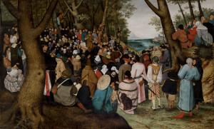 """Jeden z prezentowanych obrazów to: Pieter Brueghel mł., """"Kazanie św. Jana Chrziciela"""", 1601-1604,"""