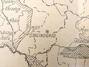 Mapa z nową nazwą Katowic - Stalinogród