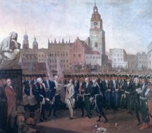 Insurekcja kościuszkowska. Przysięga Kościuszki na rynku krakowskim 24 marca 1794 r.