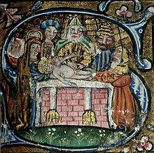 Obrzezanie Jezusa. Iluminacja mszału z około 1460. Miejska biblioteka w Clermont-Ferrand we Francji.