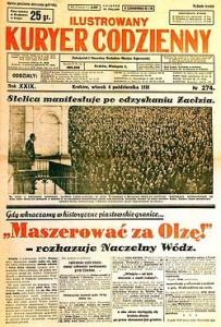 Strona tytułowa Ilustrowanego Kuriera Codziennego z 4 października 1938 – minister Beck pozdrawia uczestników manifestacji poparcia tuż po zajęciu Zaolzia