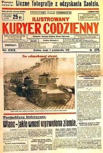 Czołgi 7TP w czasie zajęcia Zaolzia przez Wojsko Polskie w 1938 roku na okładce Ilustrowanego Kuryera Codziennego