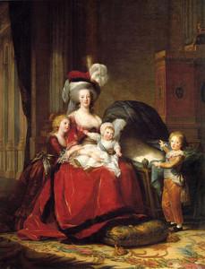 Maria Antonina ze swoimi dziećmi: na kolanach trzyma Ludwika Karola, Maria Teresa Charlotta przytula się do matki, Ludwik Józef wskazuje pustą kołyskę (pierwotnie w kołysce znajdowała się Zofia Helena Beatrycze, ale dziewczynka zmarła zanim obraz ukończono)
