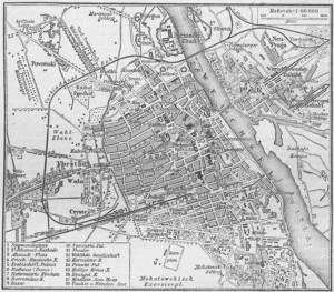 Plan Warszawy, Meyers Konversations-Lexikon z 1888.