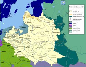 Kolorem ciemnozielonym zaznaczono ziemie, które na mocy rozejmu andruszowskiego przeszły w posiadanie Cesarstwa Rosyjskiego / fot. Mathiasrex, CC-BY-SA-3.0