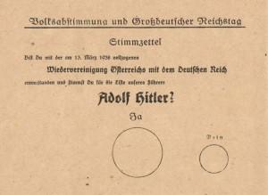 Kartka do głosowania w referendum z 10 kwietnia 1938