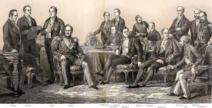 Sygnatariusze traktatu. Siedzą, od lewej: Orłow, Walewski, Clarendon i Ali Pasza