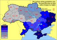 Procentowy rozkład ludności rosyjskojęzycznej według regionów (badania 2001)