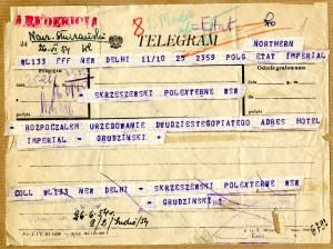 Telegram Jerzego Grudzińskiego do Centrali MSZ informujący o rozpoczęciu urzędowania w New Delhi, 25 czerwca 1954 r. (AMSZ).