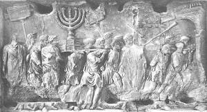 Relief z Łuku Tytusa: pochód z trofeami zdobytymi w Jerozolimie