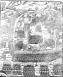 Bitwa pod Obertynem - fragment ryciny z kroniki Marcina Bielskiego