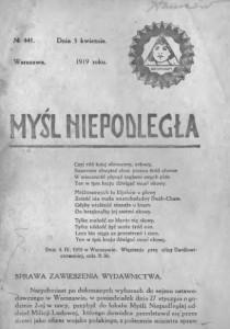 Myśl Niepodległa. Numer 441/1919