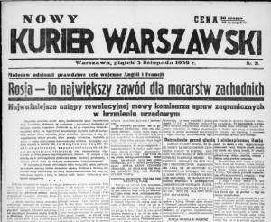 """Pierwsza strona """"Nowego Kuriera Warszawskiego"""" z jesieni 1939 roku"""