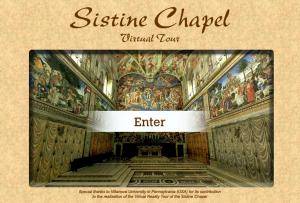 Kaplica Sykstyńska, screen pochodzi ze strony Kaplicy w 3D, http://www.vatican.va/various/cappelle/index_sistina_en.htm