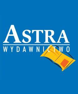 Astra logo na niebieskim