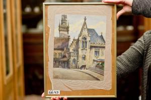 Sprzedana w sobotę w Norymberdze za pół miliona złotych akwarela namalowana przez Hitlera, fot. PAP/EPA