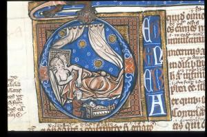 Detal z De generatione Arystotelesa (London, British Library, MS Harley 3487, f. 121v)