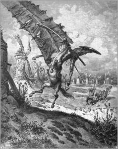 Don Kichot walczy z wiatrakami na ilustracji Gustave'a Doré'a.