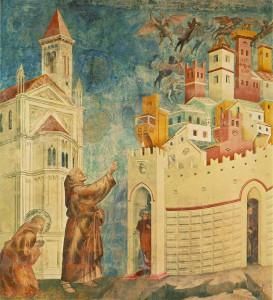 Wypędzenie demonów z Arezzo. Bazylika św. Franciszka w Asyżu