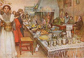 Wigilia (akwarela, Carl Larsson, 1904)