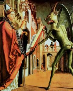 Święty Wolfgang i diabeł (obraz Michaela Pachera), panel ołtarzowy 1483), Stara Pinakoteka Monachium.
