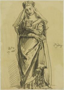 Rysunek przedstawiający Świętą Jadwigę autorstwa Jana Matejki