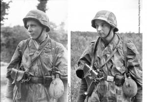 Próba wiernego odtworzenia zdjęcia zwiadowcy z niemieckiej 21. DPanc z okresu walk w Normandii. Fot. Grzegorz Antoszek, Mołdaw Reenacting Photography