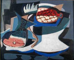 Emil Filla - Martwa natura z łososiem - jeden z obrazów do zakupienia na aukcji