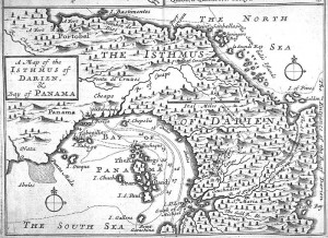 Przesmyk Panamski na mapie z XVII w.