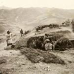 Żołnierze z 6 Wchodniosyberyjskej Brygady Artylerii podczas walk o przełęcz Dalin 14 czerwca 1904 roku