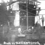 Lekki krążownik Żemczug uszkodzony podczas bitwy pod Cuszimą, fot 27 lipca 1905 r