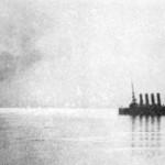 Płonący Wariag po bitwie w zatoce Czemulpo, 9 lutego 1904 r