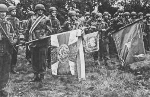 Poczet sztandarowy Samodzielnej Brygady Spadochronowej
