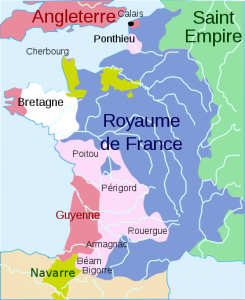 Postanowienia traktatu w Brétigny. Na różowo zaznaczono nabytki angielskie / fot. CC-BY-SA 3.0