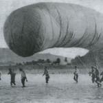 Rosyjski balon obserwacyjny podczas bitwy o Liaoyang, 1904 r