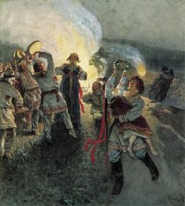 Obrzędy kupalne na obrazie rosyjskiego malarza Kławdija Lebiediewa (1852-1916)