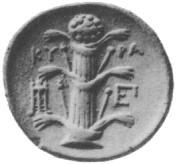 Silphium ukazane na greckiej monecie z Kyrene
