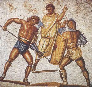 Mozaika ukazująca walkę gladiatorów.