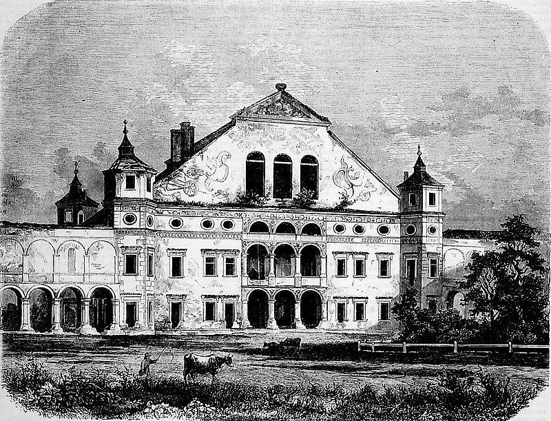 Rycina nieistniejącego już pałacu z połowy XVI w.