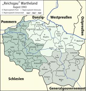 Mapa Kraju Warty (Wielkopolski) podczas okupacji niemieckiej