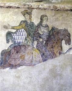 Fresk przedstawiający Eleonorę Akwitańską i Henryka II, najprawdopodobniej podczas pojmania królowej