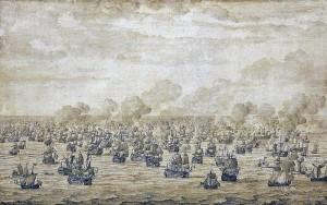 Bitwa morska pod Schooneveld, autorstwa Willema van de Velde Starszego