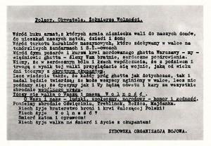 Odezwa Żydowskiej Organizacji Bojowej z 23 kwietnia do mieszkańców Warszawy