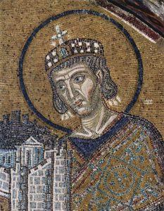 Konstantyn Wielki (mozaika w Hagia Sofia, Istambuł, ok. 1000)