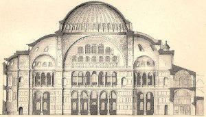 Szkicowy przekrój - Hagia Sophia