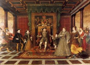 Rodzina Tudorów, obraz przypisywany Lucasowi de Heere. Na środku znajduje się Henryk VIII, po jego lewej stronie Maria, po prawej zaś Elżbieta